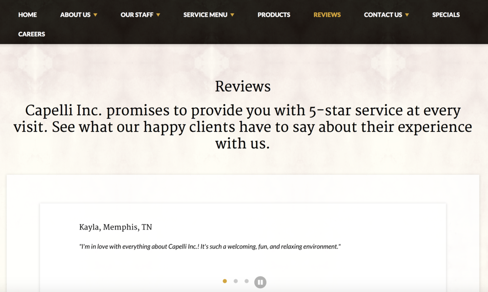Memphis salon, Capelli Inc., does a great job showcasing their reviews on their website!