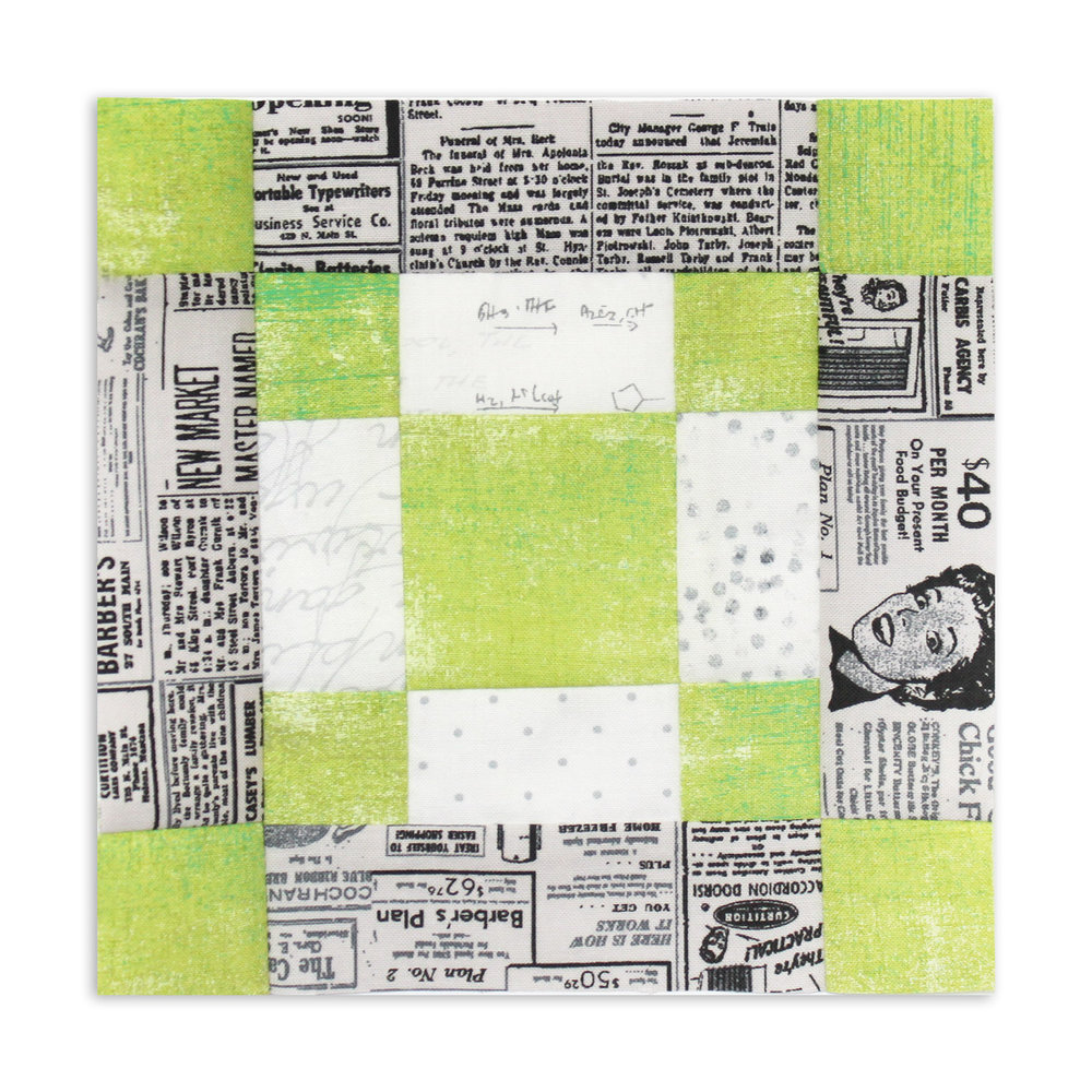 Free quilt along Blockheads 2018, Block 3: Pensylvania Fabrics used in the block are from Moda, Basic Grey GRUNGE and Zen Chic PAPER