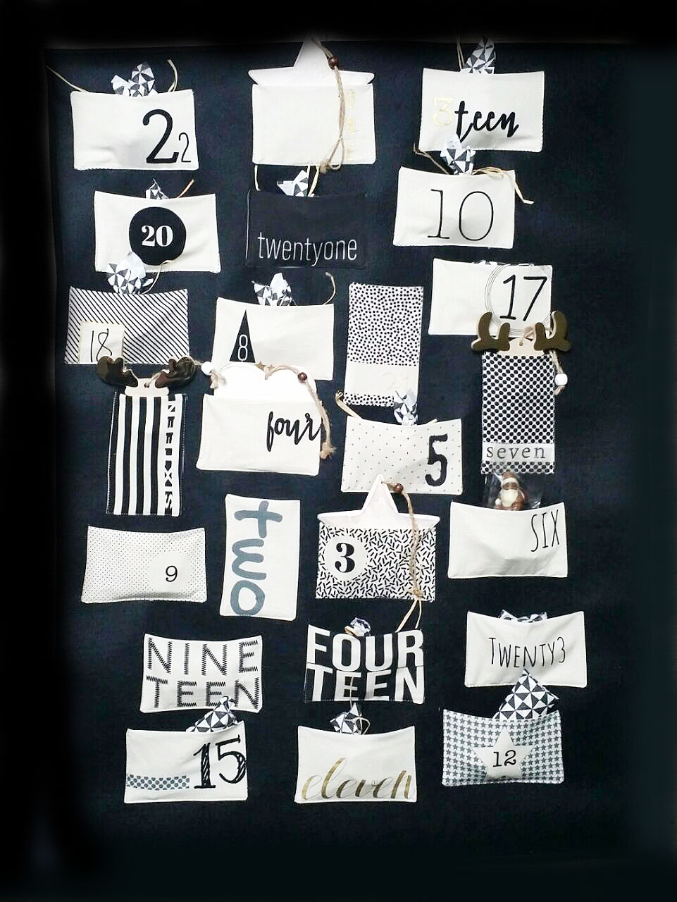 Advent calendar panel to sew a modern and fresh wall hanger in the popular hand-letterd graphic style.
