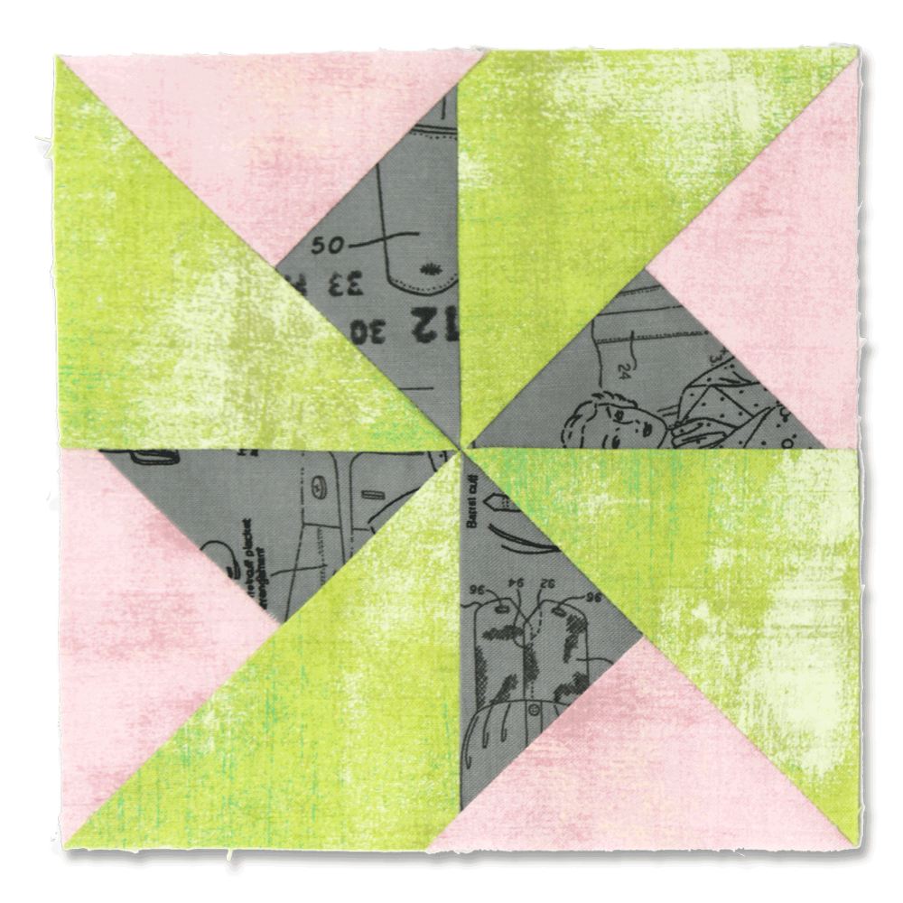Free quilt along Blockheads 2018, Block 7: Spin Cycle Fabrics used in the block are from Moda, Basic Grey GRUNGE and Zen Chic MORE PAPER