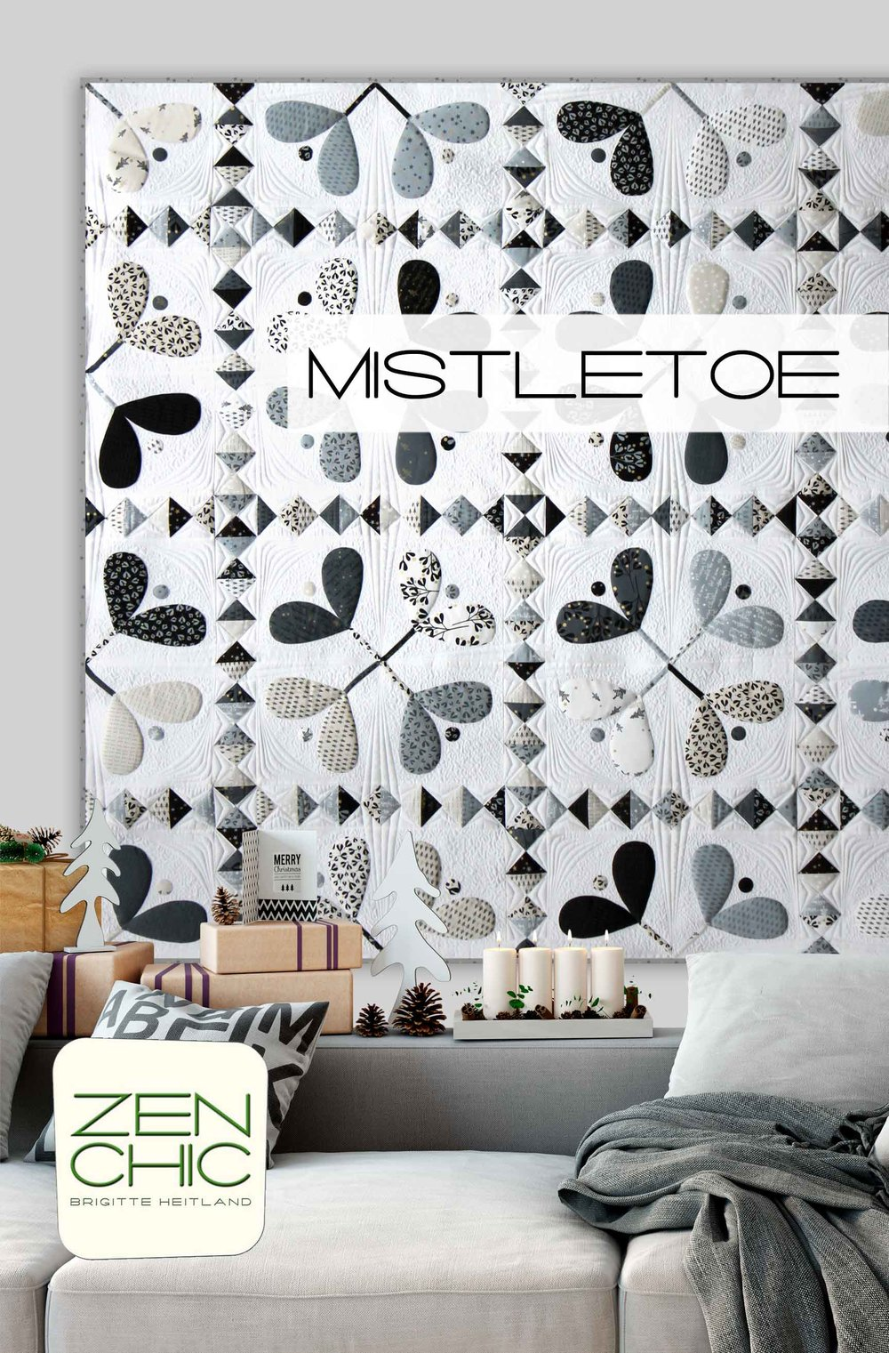 Christmas Quilt Mistletoe by Zen Chic is a modern take on an appliqué quilt. All shapes are machine appliquéd.
