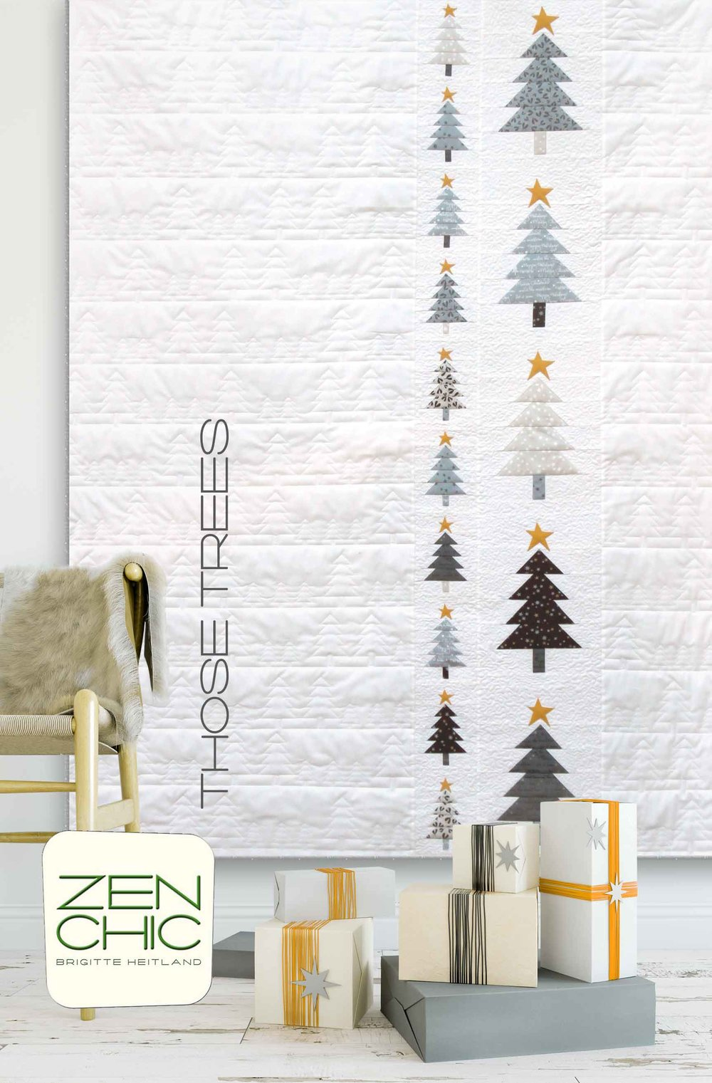 Christmas Quilt Those Trees by Zen Chic is a modern and minimalist take on an holiday quilt beyond reds and greens.