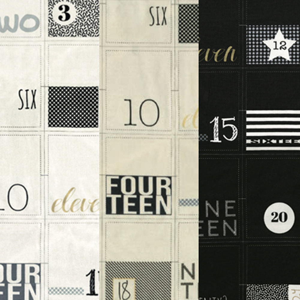 Advent Countdown Calendar panels of the fabric collection White Christmas by Zen Chic