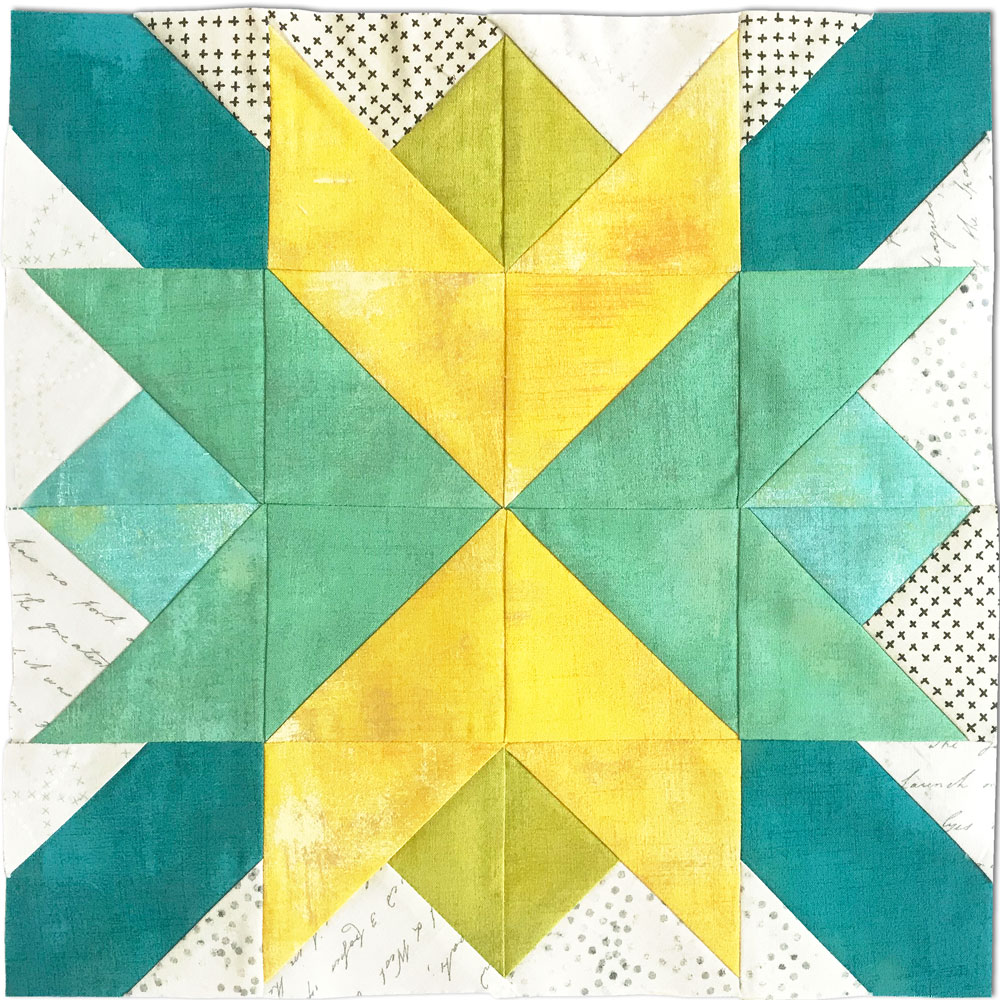 Free quilt along Blockheads 2018, Block 33: Star Power Fabrics used in the block are from Moda, Basic Grey GRUNGE and Zen Chic PAPER and MORE PAPER
