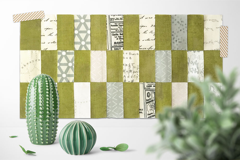 Free quilt along Blockheads 2018, Block 35: Gibby Fabrics used in the block are from Moda, Basic Grey GRUNGE and Zen Chic PAPER and MORE PAPER