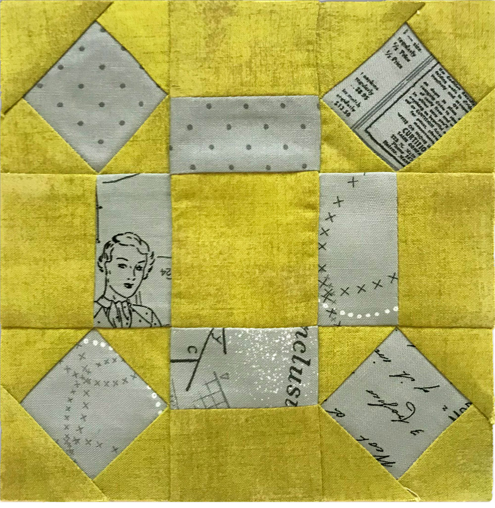 Free quilt along Blockheads 2018, Block 36: Rolling Stone Fabrics used in the block are from Moda, Basic Grey GRUNGE and Zen Chic PAPER and MORE PAPER