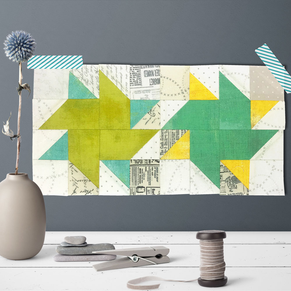 Free quilt along Blockheads 2018, Block 41: Bella Spinners Fabrics used in the block are from Moda, Basic Grey GRUNGE and Zen Chic PAPER