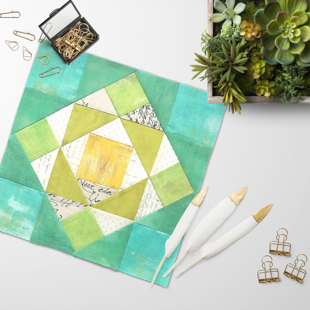 Free quilt along Blockheads 2018, Block 42, Around the Corner Fabrics used in the block are from Moda, Basic Grey GRUNGE and Zen Chic PAPER