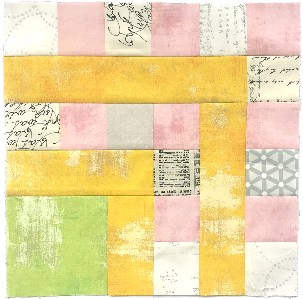 Free quilt along Blockheads 2018, Block 44: Candy Striper Fabrics used in the block are from Moda, Basic Grey GRUNGE and Zen Chic PAPER