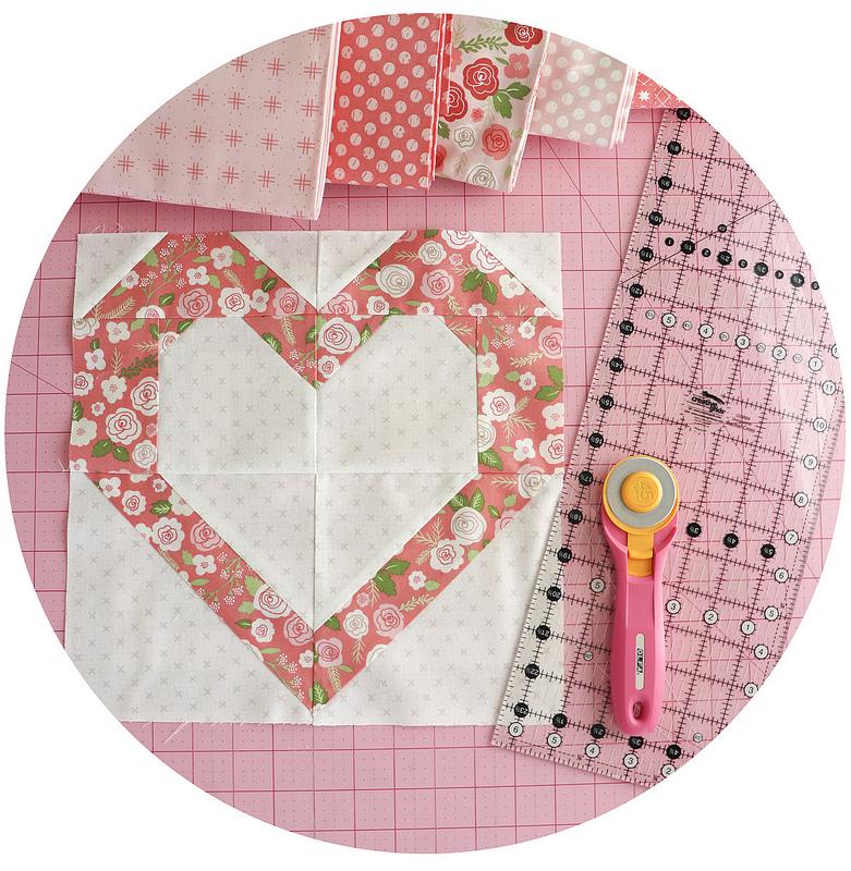 Valentine Heart Quilt Block by Vanessa Goertzen of Lella Boutique