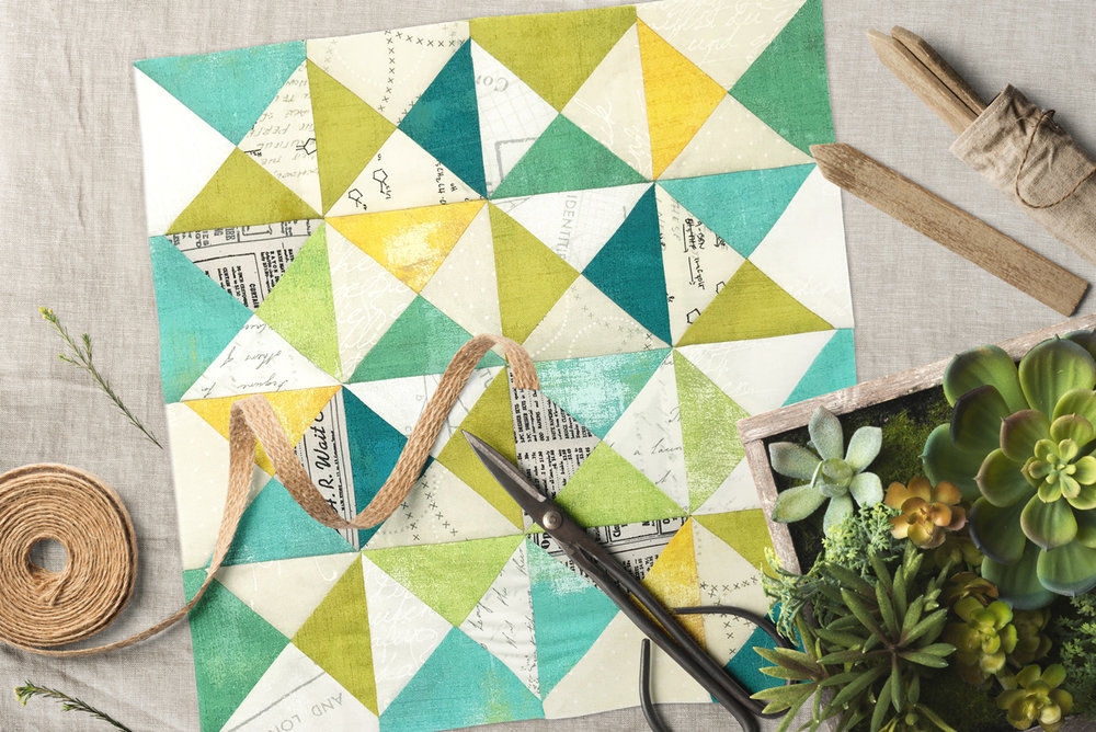 Free quilt along Blockheads 2018, Block 50: Vintage Fabrics used in the block are from Moda, Basic Grey GRUNGE and Zen Chic PAPER
