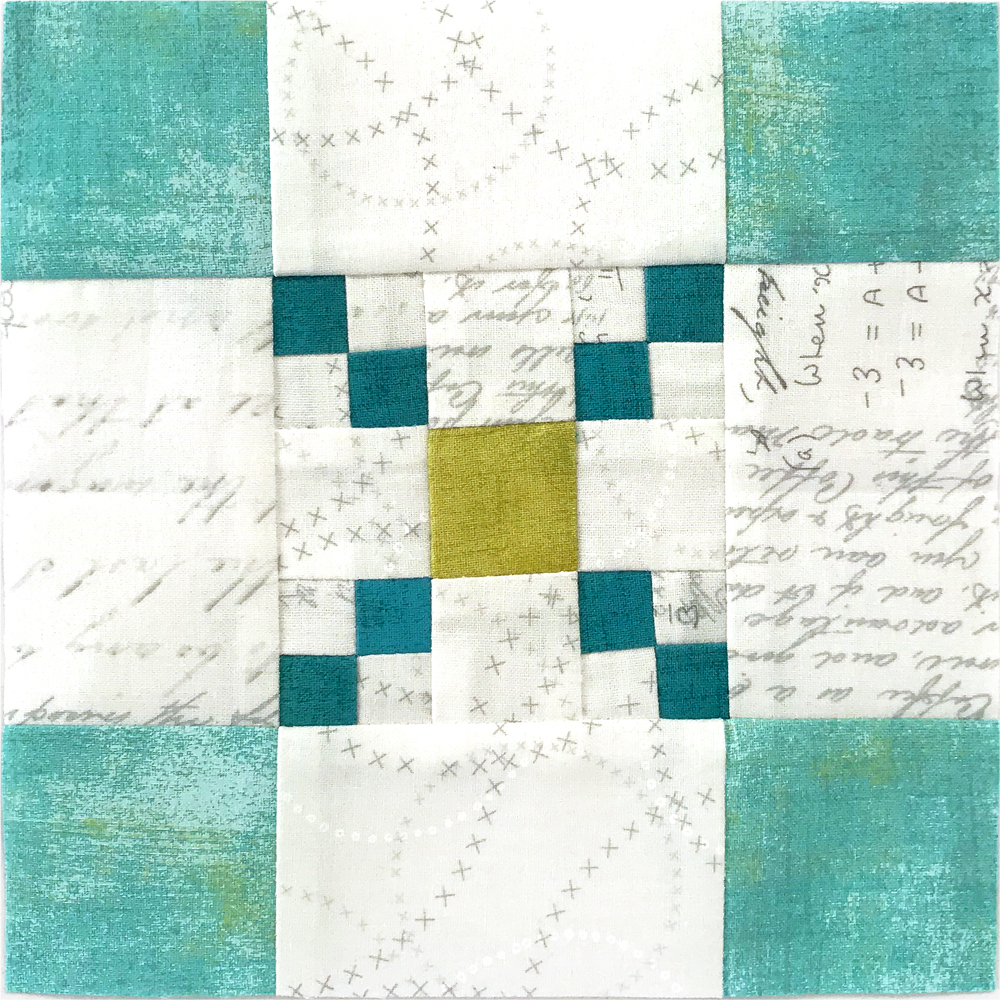 Free quilt along Blockheads 2018, Block 52: Scrappy Checker Board Fabrics used in the block are from Moda, Basic Grey GRUNGE and Zen Chic PAPER