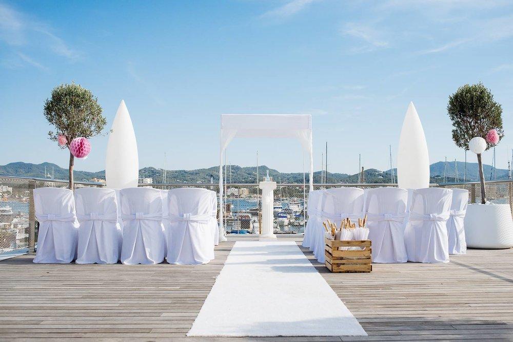 A Wedding Ceremony at Restaurante Es Nautic, San Antonio, Ibiza. Photo by Dario Sanz.