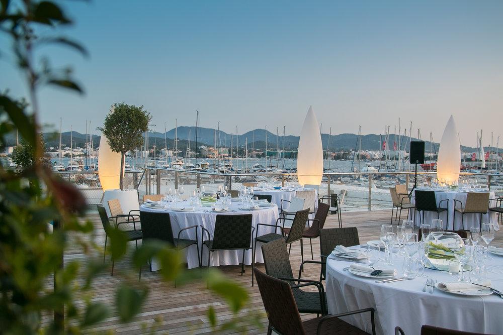 Sunset wedding reception, San Antonio, Ibiza. Photo by Dario Sanz.