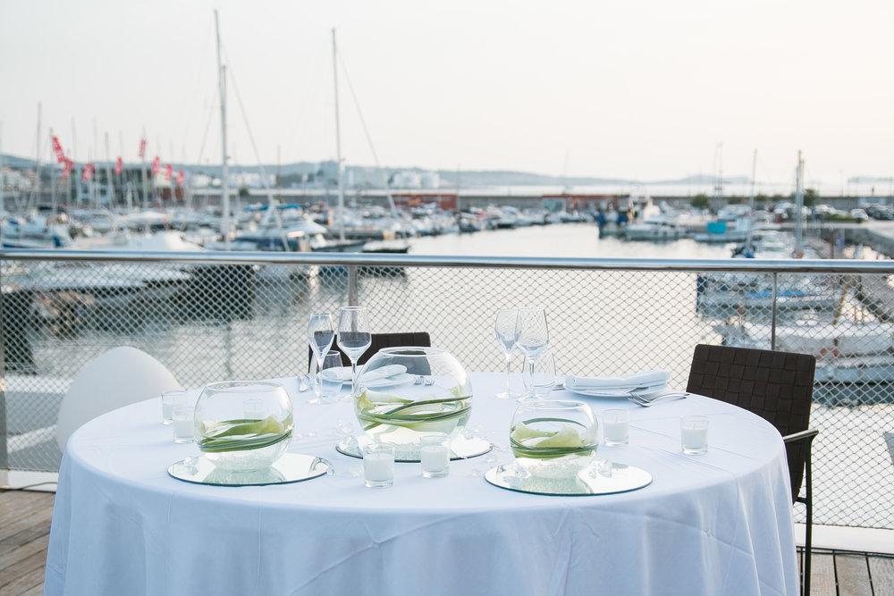Wedding dinner at Es Nautic, San Antonio, Ibiza.