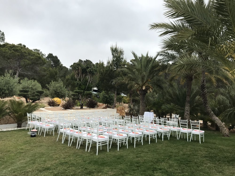 Ceremony decoration organised by Your Ibiza Weddings & Events at for a villa wedding at Casa Agua, Ibiza