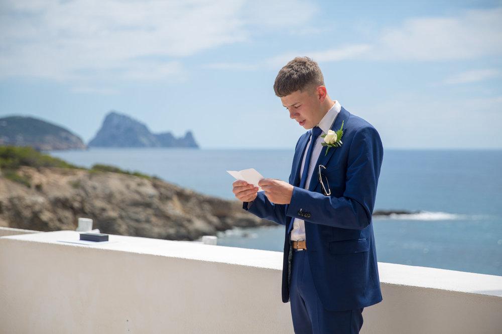 Wedding reading at Elixir Shore Club, Ibiza. Photo by Matt Morgan.