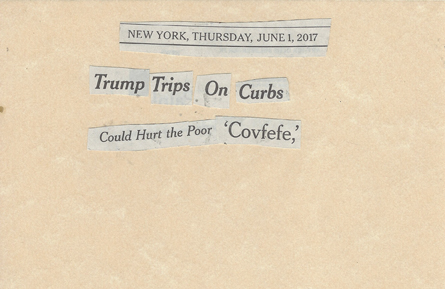 June 1, 2017 Trump Trips on  Curbs Could hurt the poor CovfefeSMFL.jpg