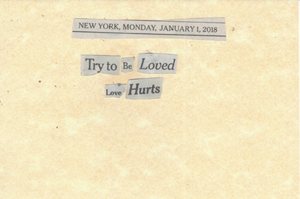 January 1, 2018 Try to be Loved. Love Hurts. SMFLjpg