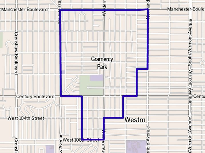 Gramercy Park   The Gramercy Park neighborhood touches Manchester Square on the north, Westmont on the east and south, and Inglewood on the west. It is bounded by Manchester Boulevard on the north, Normandie Avenue and the Los Angeles city line on the east and the Los Angeles city border on the south and west.