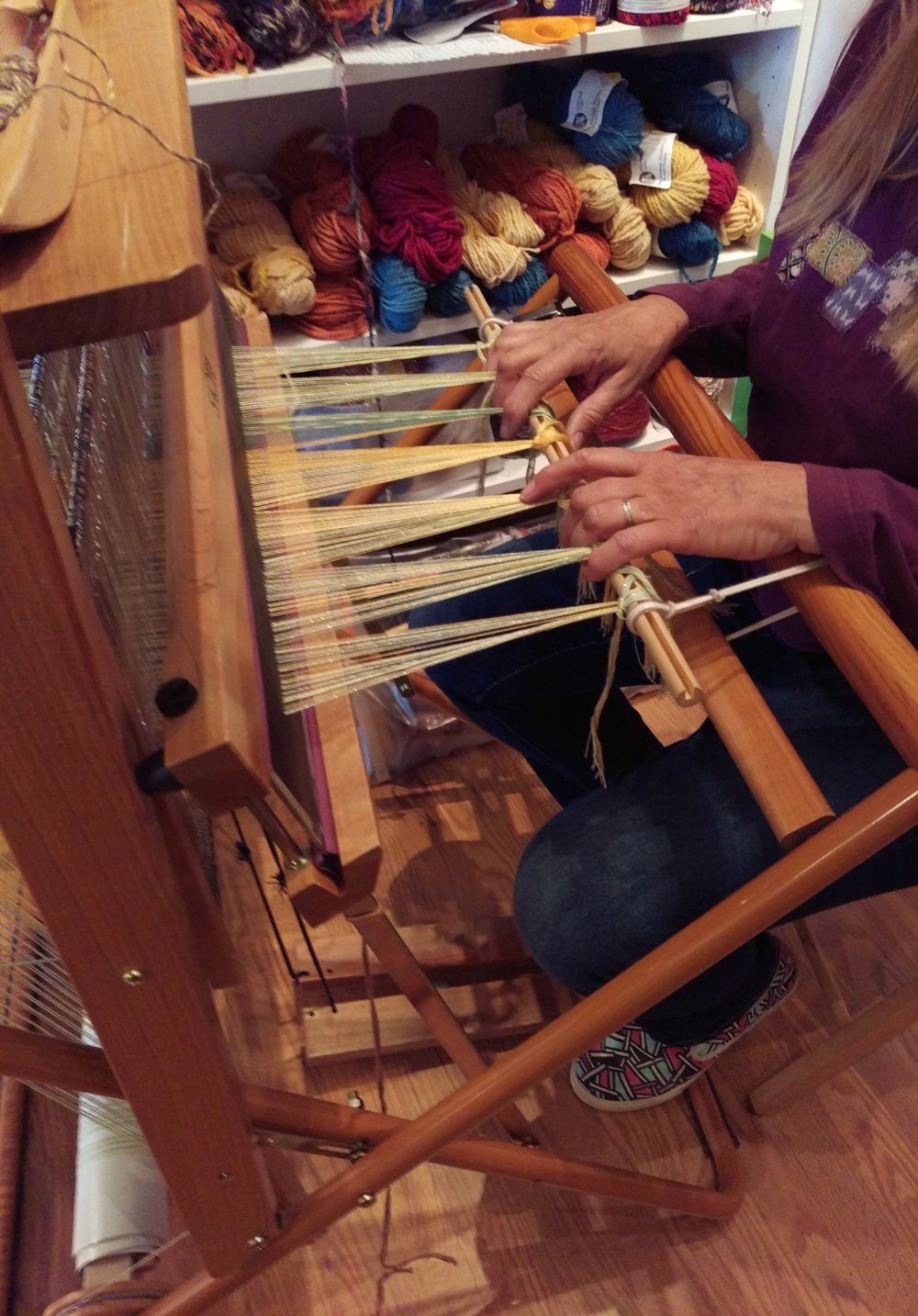 Saori Loom weaving demonstration by Dayna Fisk-Williams