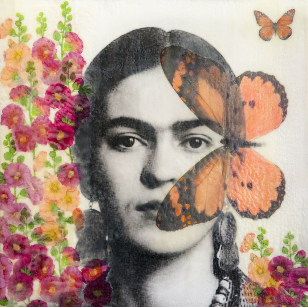 Frida & Hollyhocks_Angel Wynn_20x20 inch_Encaustic 2018.jpg