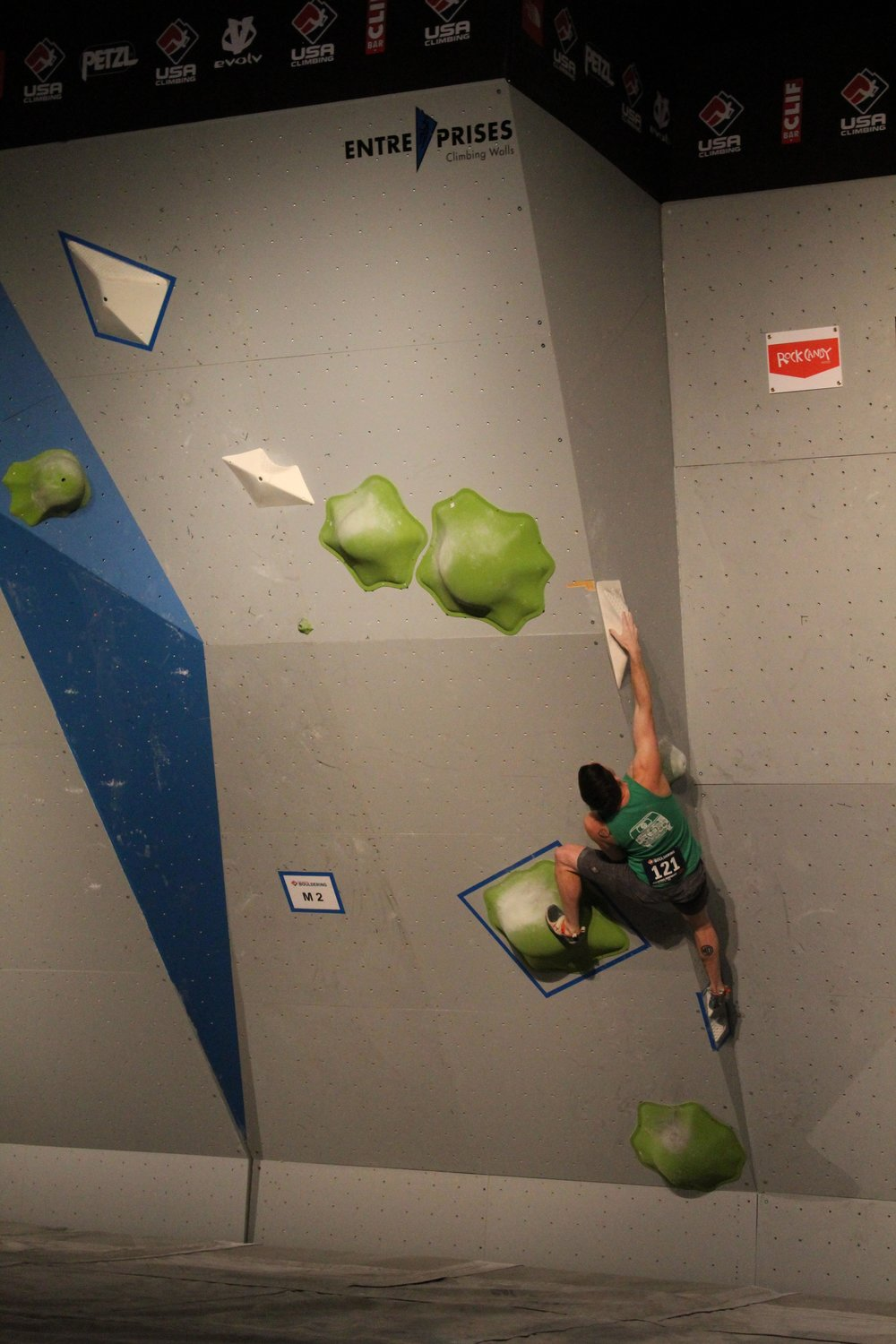 Skip the bump! Go to the far sloper first Nick, it's more positive!!! Photo Credit: USAC Bouldering Nationals