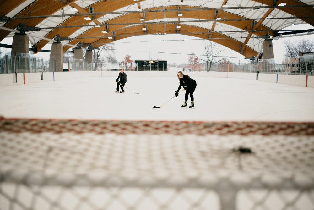 ice skating engagement photos