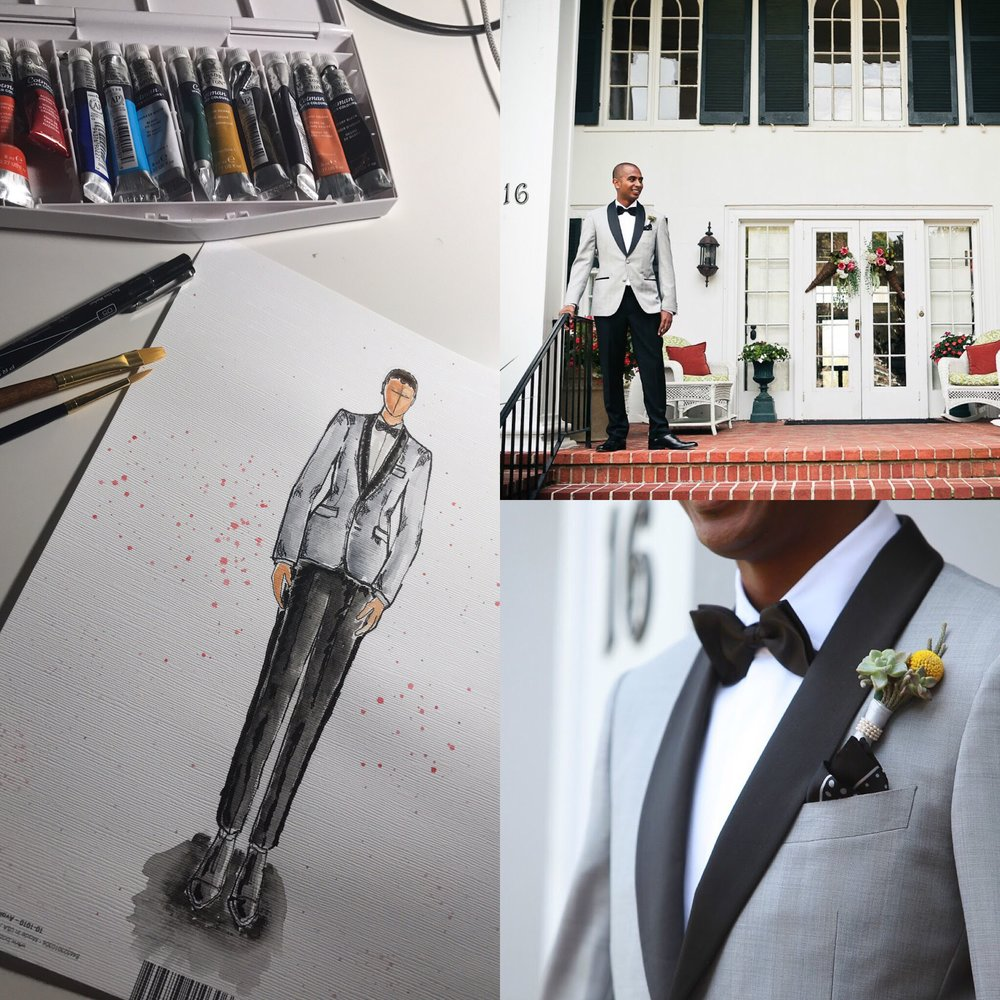 From Sketch to Finish: A one of a kind custom bespoke gray dinner jacket.