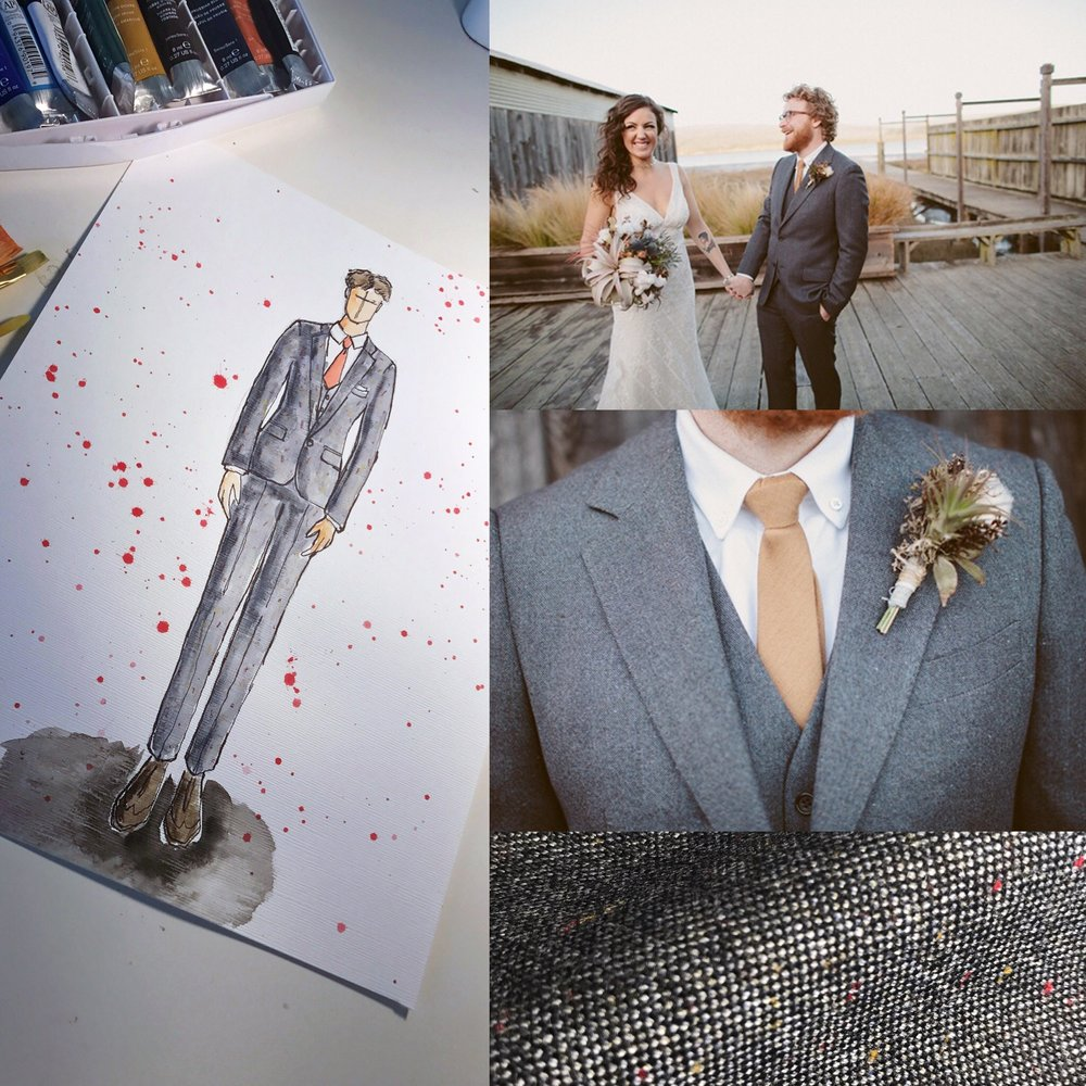 From sketch to finish: Our interpretation of a British inspired MOD cut suit. Note the tiny speckles of color in the close up of the Donagel Tweed.