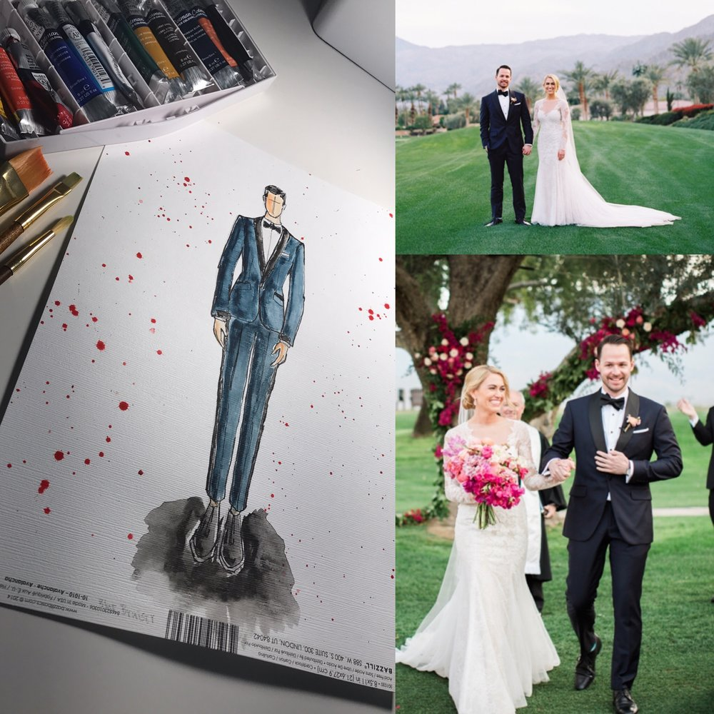 """From Sketch to Finish: """"The Bruiser"""" Black and Navy Blue Wedding Tuxedo Bespoke Design"""