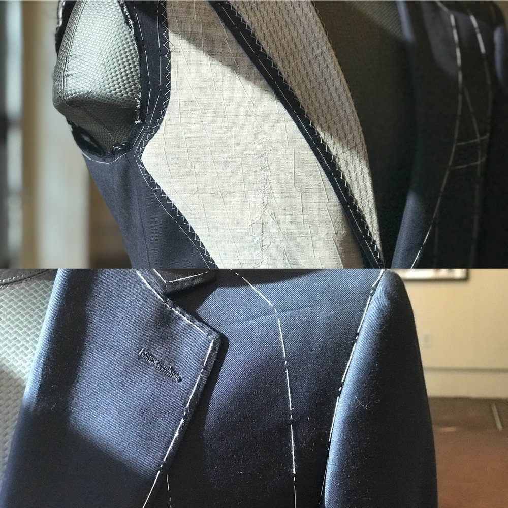 Top: Basted chest horse hair/linen canvas lightly padded with felt and cotton. Bottom:  Temporary basting stitches used to hold canvas in place during production.