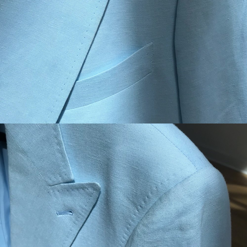 Top: Optional hand pick stitching on lapels and welt pocket. Bottom: Optional hand pick stitching on sleeve head, lapels and shoulder seam