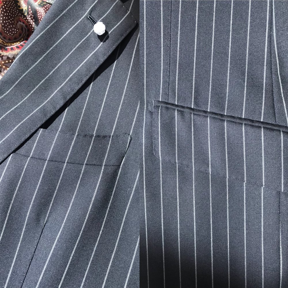 "Left: Stripes match at welt pocket featuring a curved ""canoe""  Neapolitan style pocket. Right: Stripes match on pocket flap featuring ""slanted"" English style construction."