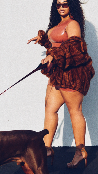 Plus Size Model Candice Kelly and Red Doberman Pinscher