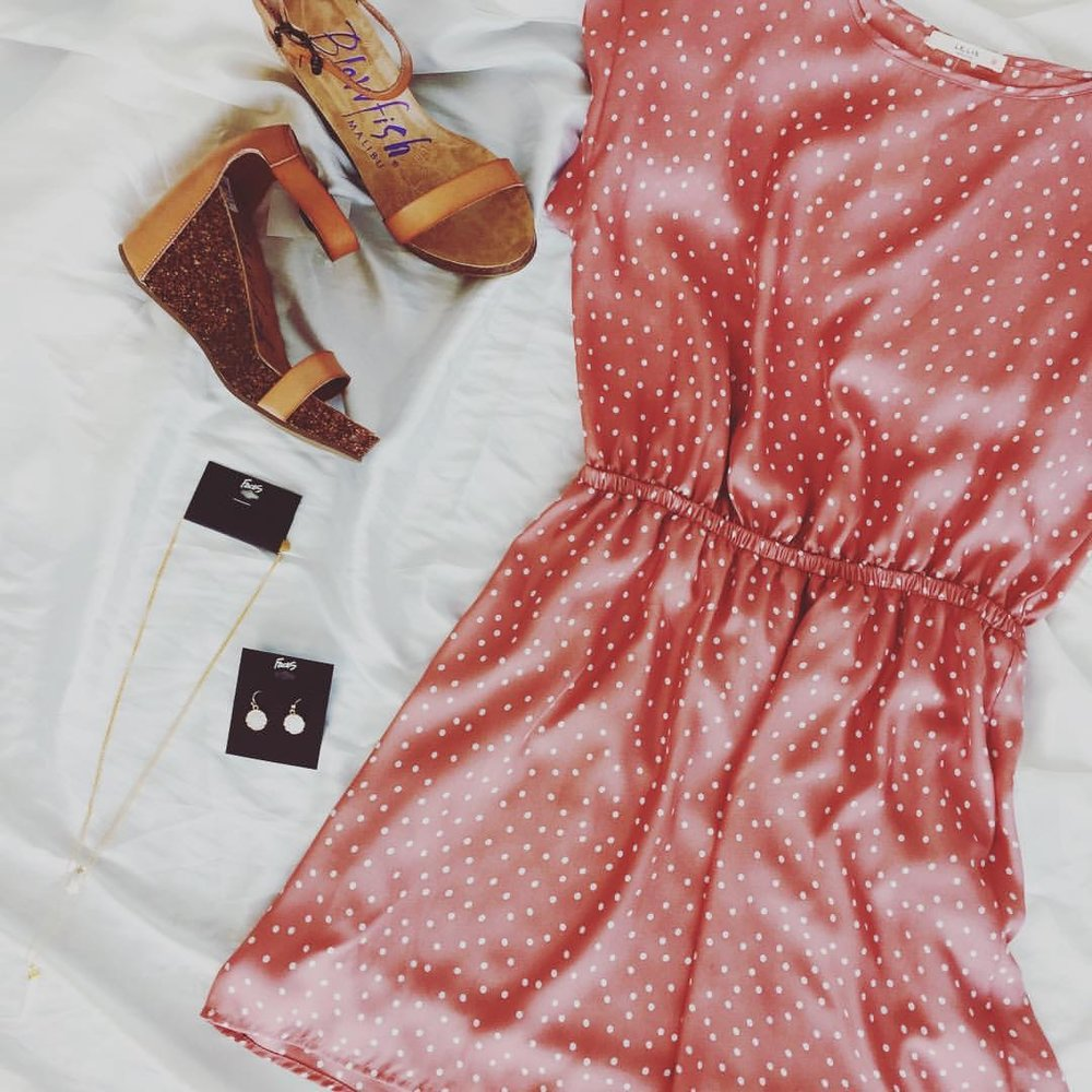 Pink dress with shoes and jewelry.JPG