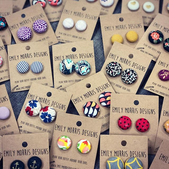 Cute as a button! We're excited to introduce this new earring collection, handmade in Western Mass!  #cuteasabutton #fabricbuttonearrings #buttonearrings #handmadejewelry #westernmass #earrings #facesmainstreet