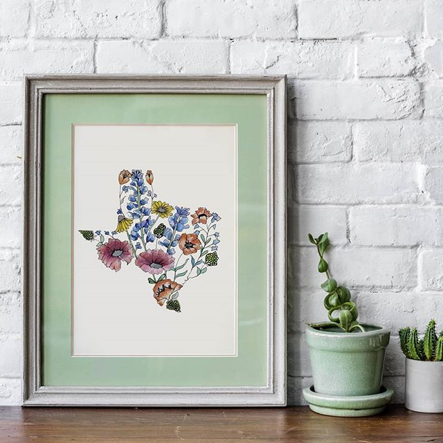 Good morning Texas!!! I think it's particularly appropriate to share this new design today because I'll be road-trippin to Austin and I CANT WAIT to drive through the fields of wildflowers!! This DIY Watercolor Kit will be added to my Etsy later this weekend so you can paint this beauty for yourself!! What do ya think?! . . #texaswildflowers #diywatercolorkit #texasstrong #stopandsmelltheflowers #texaswatercolor @dallasfarmersmarket #wildflowerseason #bluebonnets #paintthis