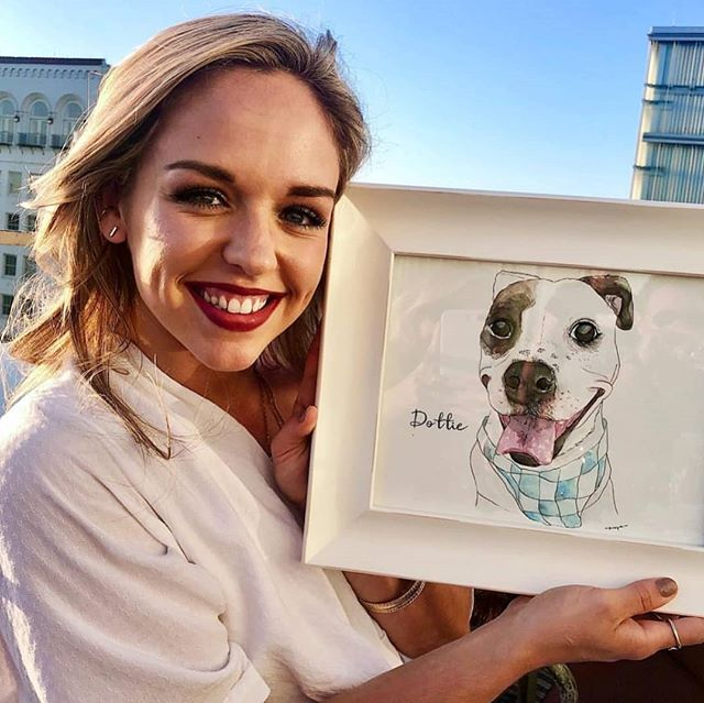 Happy Birthday to Dottie's Human @kayespence !! Pawtraits make the best gifts don't they? On that note, it's National Pet Day and I wanna hear how you're giving your baby extra love!!! I'm @muttscantina to hang out with the pups, and later, Kiwi's gonna get fresh salmon 😉 . #Pawtrait #nationalpetday2019 #spoiledpets #dallasartist #lifetimeoflove #watercolordog #giftable #frameit