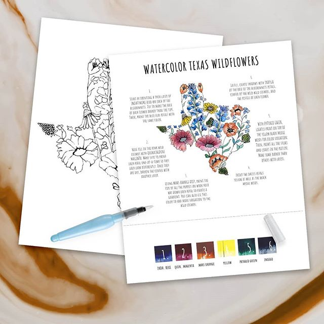 You can find this GORGEOUS (if I do say so myself) design tomorrow at @thebohomarket ! Its going to be rainy, but no worries, because all our shopping will be INSIDE!! So why not pick up a cute activity to do with a cup of tea? Sounds like the perfect Saturday to me!! . . #diywatercolorkit #texaswildflowers #52kits #deepintheheartoftexas #etsylove #saturdayafternoon #watercolorpainting #lazyweekend #texasweather #timefortea #giftshop @faire_wholesale