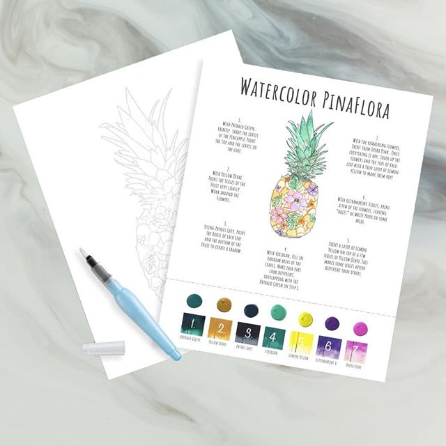 The cool thing about our DIY Watercolor Kits? You don't really have to follow the instructions... You can color the image in by mixing your own colors with the built-in-palette! There is plenty of room to play!! .  #diywatercolorkit #watercolor101 #getcreative #colormehappy #pineappledecor #ifyoulikepiñacoladas #paintthis #summer2019 #tropicalfruit #52kits #watercolorpineapple #makeyourownart #homedecor @jadeandclover