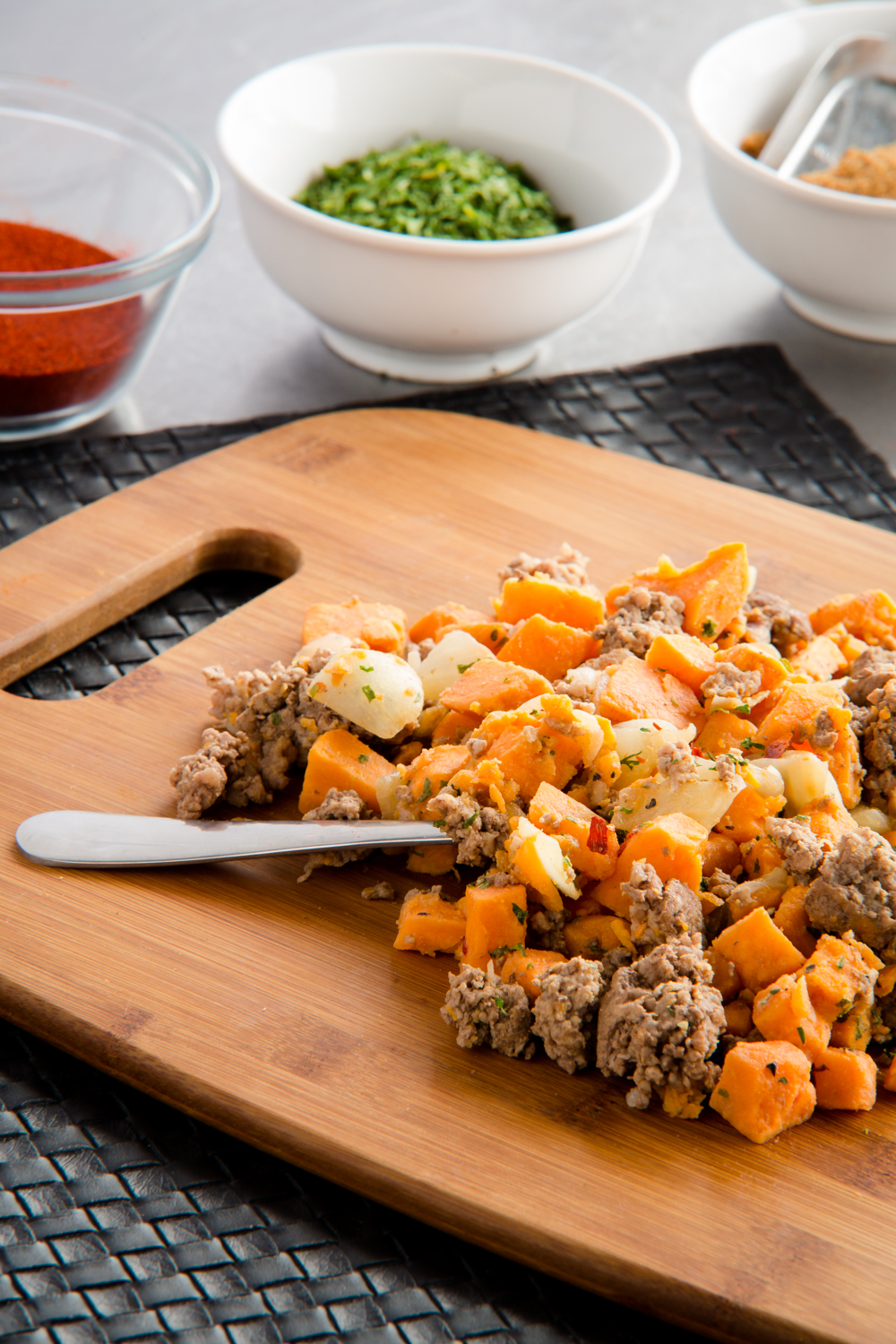 Sweet Potato Hash   Calories: 374  Protein: 39g  Carbohydrates: 25g  Fat: 11g  Sugar: 4g  Gluten Free  Ingredients: Ground beef seasoned with crushed pepper flakes, garlic, natural raw sugar, pepper and salt. Sautéed until golden brown and folded together with sweet potatoes that are diced and lightly salted.