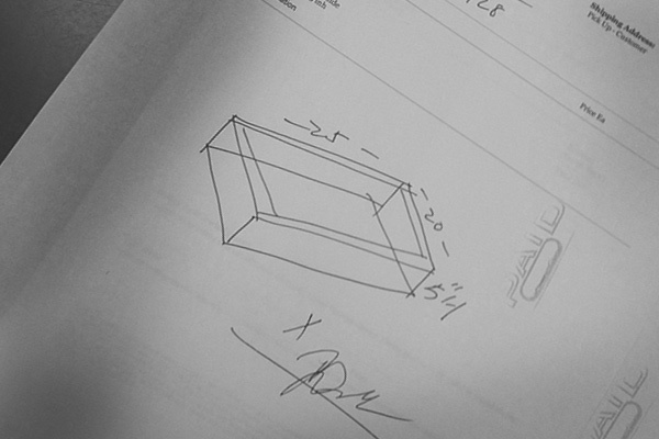 White plexi bin sketch , got this made at Canal Plastics.
