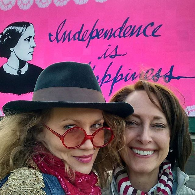 We are happy to welcome @lisacapogrossi as a new crew member of our growing team!  In March of 2017, Lisa Capogrossi Schneider showed up at the inaugural Love Across the USA  workshop in Rochester NY.  A longtime admirer of public art, she was excited at the prospect of actually being able to participate in its creation. She didn't know how to crochet, but was eager to learn. After many false starts, and lots of encouragement from Olek, Lisa finally produced not one, but three beautiful squares for the Susan B. Anthony mural. The energy used in creating those squares resulted in a very dedicated volunteer. She became one of our lead people who helped to manage, finish, and install the mural in Rochester. Among her favorite moments was her time on the roof of the building, standing side-by-side with Olek, getting the piece in place. Considering this project a life-changing experience in many ways, she has since volunteered for a number of other public art projects. Lisa is now serving as our outreach director, and is thrilled to be tasked with finding other communities to experience the magic of Love Across the USA. #loveacrosstheusa #teamolek #teamlatusa