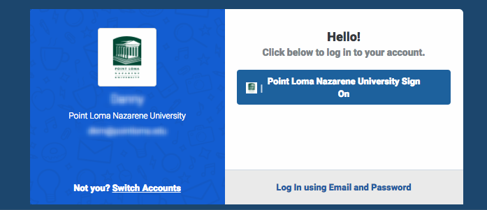 Use your PLNU Credentials via OneLogin