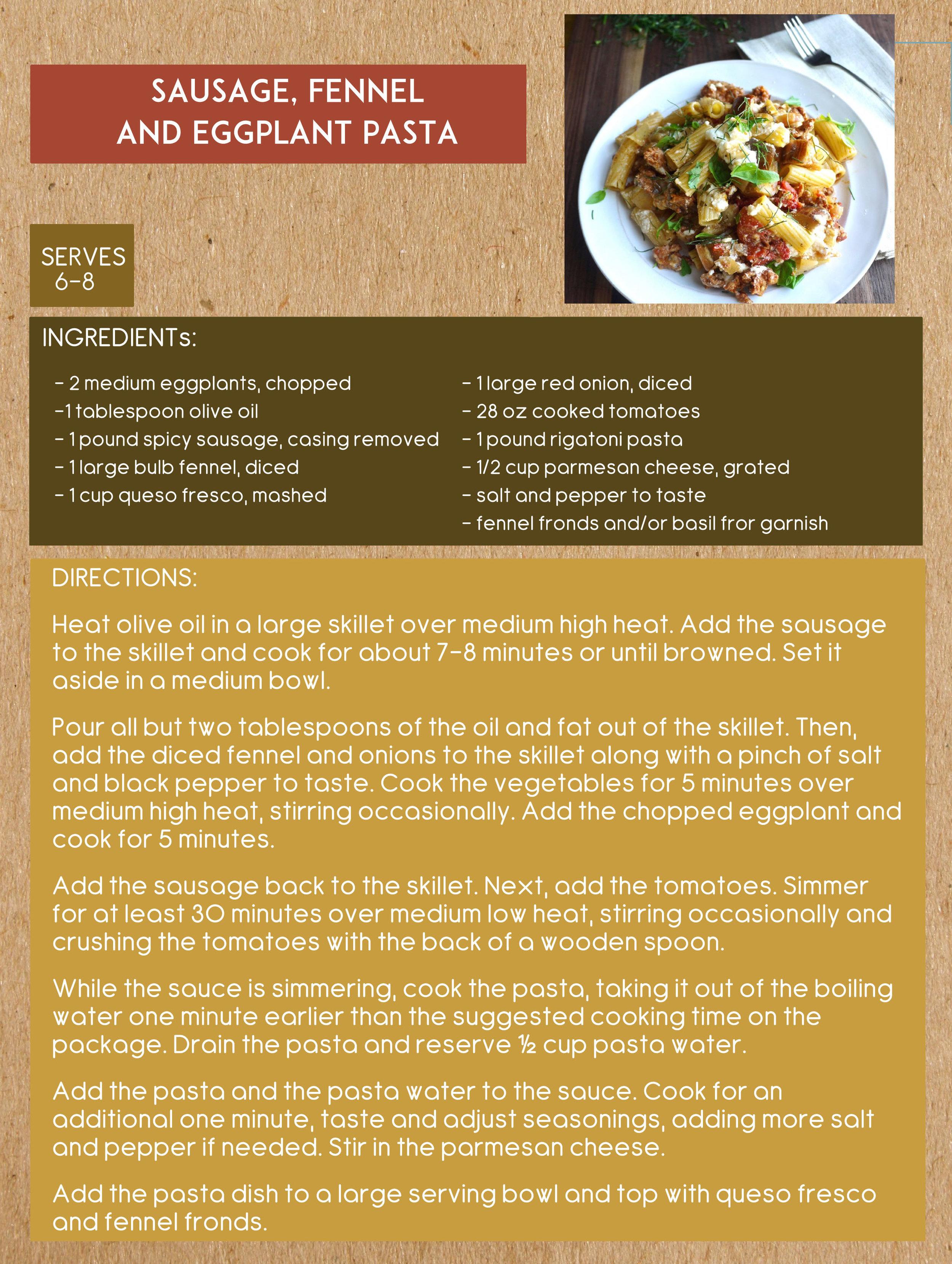 fennel eggplant pasta