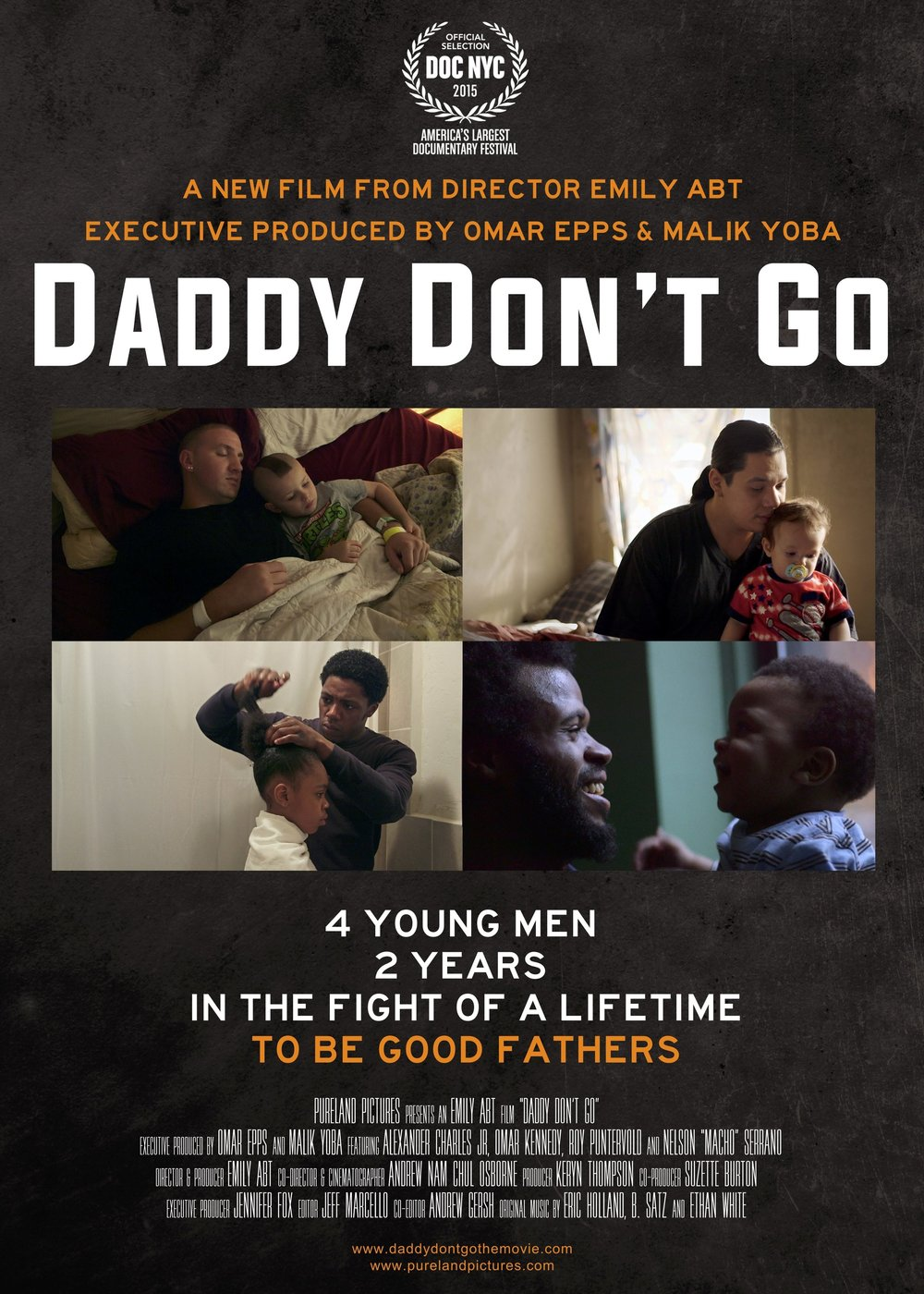 Daddy Don't Go - 2015, USA, 90 min, in EnglishDaddy Don't Go captures two years in the lives of four disadvantaged fathers in New York City as they fight to defy the odds against them. And the odds are real – men living in poverty are more than twice as likely to become absent fathers than their middle-class peers (U.S. Census Bureau).Daddy Don't Go is a tough but tender journey that aims to illuminate the everyday struggles of disadvantaged fathers. Alex, Nelson, Roy and Omar shatter the deadbeat dad stereotype and redefine what it means to be a good father for all men.