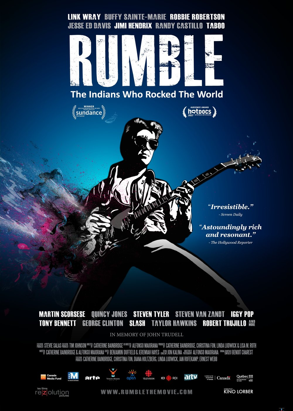 RUMBLE: The Indians Who Rocked the World - 2017, Canada, 97 min/104 min incl., in EnglishThis powerful documentary about the role of Native Americans in contemporary music history—featuring some of the greatest music stars of our time—exposes a critical missing chapter, revealing how indigenous musicians helped shape the soundtracks of our lives and, through their contributions, influenced popular culture.