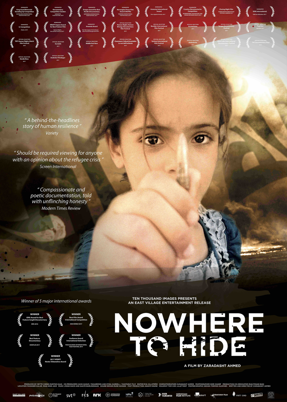 "Nowhere to Hide - 2016, Norway/Sweden, 86 min, in Arabic with subtitlesAfter the Americans left Iraq in 2011, a male nurse named Nori Sharif was asked to report on the state of his country, providing unique access into one of the world's most dangerous and inaccessible areas – the ""triangle of death"" in central Iraq. Working in the local hospital in Jalawla, he filmed the victims of war over the course of five years. The shocking images show families torn apart, maimed and damaged by the violence in Iraq. And every day more arrive, as the conflicts continue and life is disrupted by attacks over and over again. Often it isn't even clear who the adversaries are. But the threat level increases, and when the Iraqi army pulls out in 2013 because of militant groups, the population flees – accompanied by the majority of the hospital staff. Sharif is one of the few who remain. When IS advances on Jalawla in 2014 and finally takes over the city, Sharif continues to film. Then he too has to flee at a moment's notice, to bring himself and his family to safety."