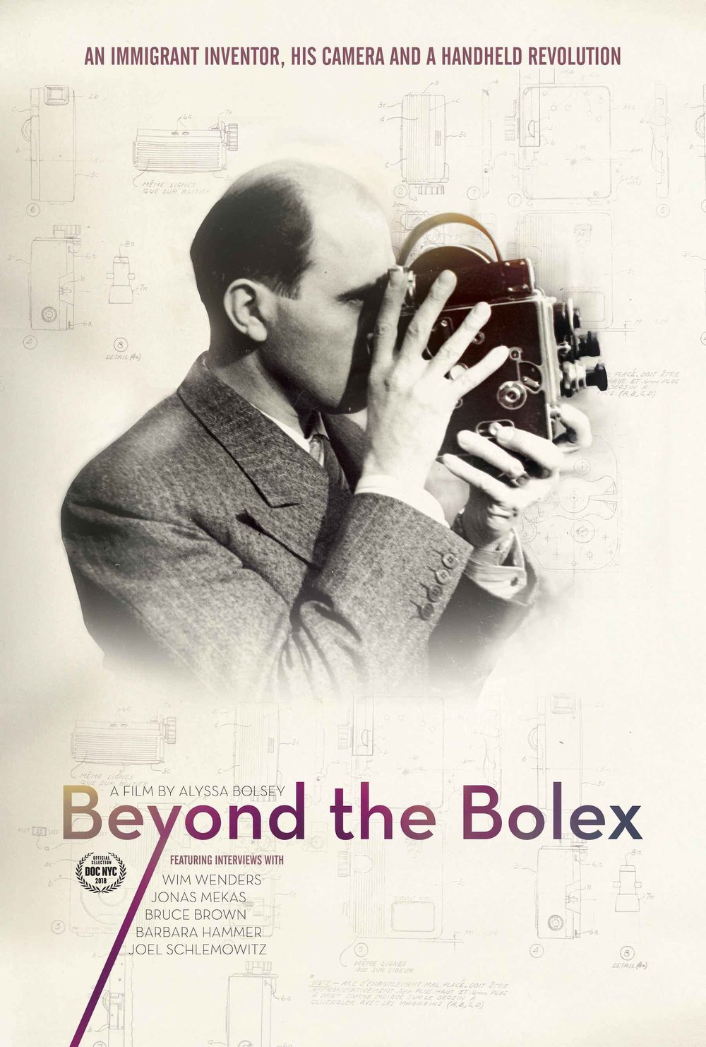 "Beyond the Bolex - 2018, USA/Switzerland, 91 min, in EnglishIn the 1920s immigrant inventor Jacques Bolsey aimed to disrupt the early film industry with a motion picture camera for the masses: the iconic Bolex. Over 90 years later, filmmaker Alyssa Bolsey pieces together the fragments of a forgotten family archive to reveal the epic story of her great-grandfather in ""Beyond the Bolex."" Interviewing family members and renowned filmmakers, Alyssa travels to Switzerland, and delves into Jacques' personal diary, film reels and collected images in order to understand the man and his impact on generations of filmmakers."